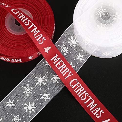 50yardes 2 Rollos Cintas Navidad Embalaje Regalo Manualidades Lazos Decoración Cajas Flores Arbol Navidad Fiesta Adornos Navideños Roja Blanco