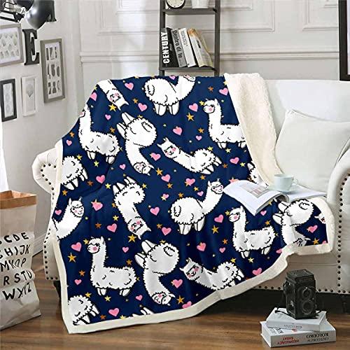 Lindo Llama manta de felpa de dibujos animados animal manta de forro polar para cama sofá Galaxy Sherpa manta amor individual 50 x 60 pulgadas