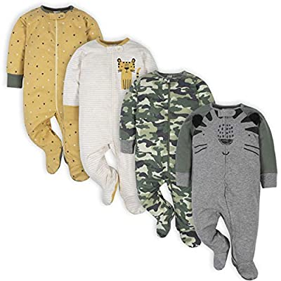 Gerber Baby Boys' 4 Pack Sleep 'N Play Footie, Tiger Grey, 0-3 Months from Gerber