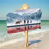 Proxiceen Telo da spiaggia congelato, asciugamano per bambini e adulti, asciugamano da bagno in 100% microfibra, accessorio per asciugamano da bagno (Y10,80 x 160 cm)