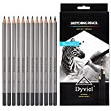 Professional Drawing Sketching Pencil Set - 12 Pieces Drawing Pencils 10B, 8B, 6B, 5B, 4B, 3B, 2B, B, HB, 2H, 4H, 6H Graphite Pencils for Beginners & Pro Artists