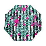 Suzanne Betty - Paraguas de viaje con diseño de hojas de flamenco, color blanco y negro, 3 pliegues, resistente al viento, UV automático