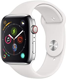 Apple Watch Series 4 44mm (GPS + Celular) - Caja De Acero Inoxidable En Plata / Blanca Correa Deportiva (Reacondicionado)