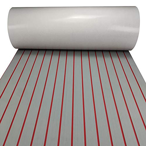 Boat Flooring Decking Sheet Non-Skid EVA Foam Faux Teak Decking Self-Adhesive Marine Yacht Decking Sheet (Shallow Grey with Red Seam Straight Groove, 94.5' x 35.4')