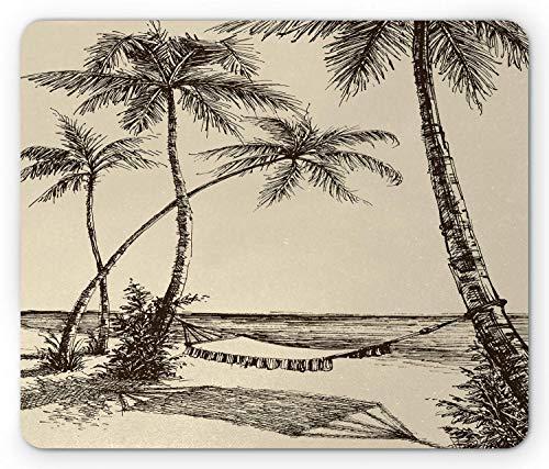 Tropische muis pad, schets stijl hangmat Sandy strand met palmbomen reizen klassieke HDrawn, muismat crème donker