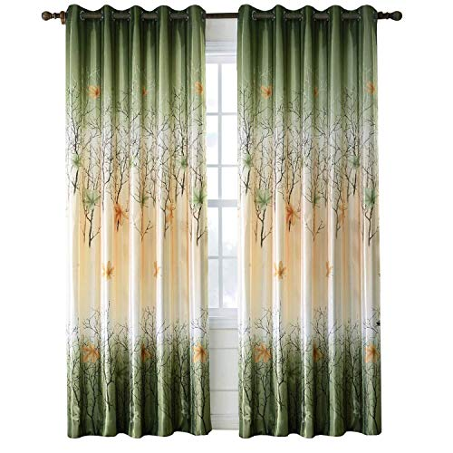 Green/Yellow Leaf Tree Curtains - 2 Panel Sets Maple Curtains for Living Room Grommet/Eyelet 84 inch Drop