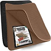 """Small Cat Litter Trapper by iPrimio - Litter Mat, EZ Clean Cat Mat, Litter Box Mat Water Proof Layer and Puppy Pad Option. Patented (23""""x21"""" Brown)"""