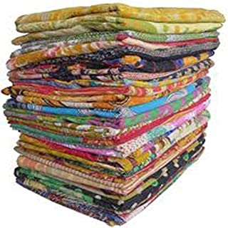 Navya Creations 10 Pieces Mix Lot Whole Sale Tribal Kantha Quilts Vintage Cotton Bed Cover Throw Old Assorted Patches Made Rally