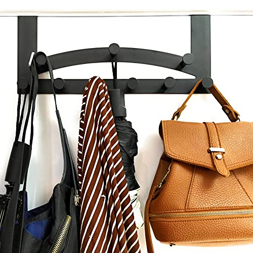 Kleiderhaken, Türhakenleiste, schwarz matt, Türhaken, Garderobehaken, Hakenleiste, Garderobe, Türgarderobe