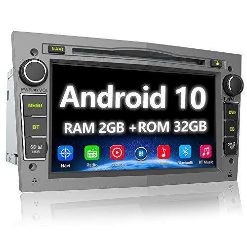 AWESAFE Android 10 Autoradio für Opel 2DIN Radio mit Navi, unterstützt DAB+ WiFi CD DVD Bluetooth MirrorLink 7 Zoll Bildschirm RDS Radio - Grau