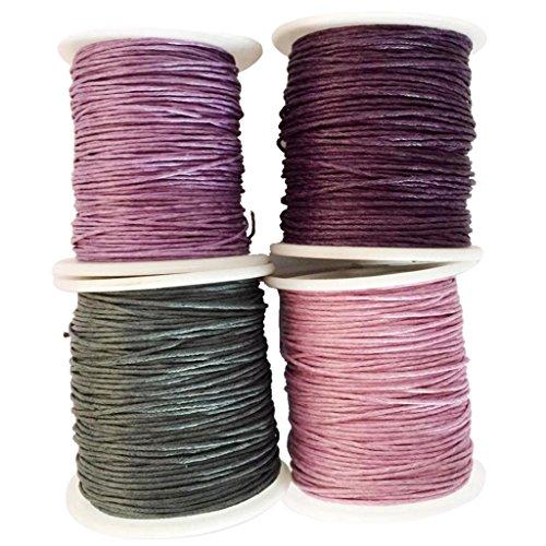 Sharplace 4 Rollen Gewachste Baumwollschnur Wachsband Baumwollkordel 80M 1MM für Schmuckherstellung - Farbe 2