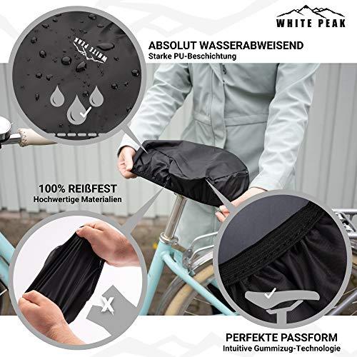 WHITE PEAK® 2er Set Wasserdichter Sattelbezug - Bike Seat Cover - Universalgröße - Der perfekte Sattelschutz für Ihr Fahrrad - 4