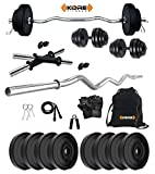 Kore PVC 16 Kg Home Gym Set with One 3 Ft Curl and One Pair Dumbbell Rods with Gym Accessories