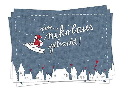 10 Weihnachtskarten zum Nikolaus - Vom Nikolaus gebracht, Postkarten Set für Weihnachten, Weihnachtspostkarten in Blau, witzig, mit fliegendem Nikolaus auf Vogel