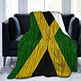 AMHNF Jamaica Wooden Texture Jamaican Flag Blanket Flannel Fluffy Quilt Wool Blanket Plush Plush Blanket Suitable for All Seasons Spring, Summer and Autumn Sofa Bed Sofa 80X60 inch