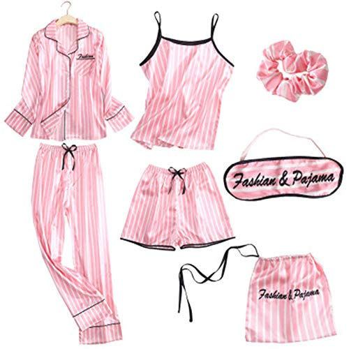 LSJSN Pyjama 8 Pcs/Set Soie Satin Femmes Pyjamas Ensemble Femme Rose Pyjamas Rayés Lady Robe Stitch Lingerie Vêtements De Nuit Pjs M