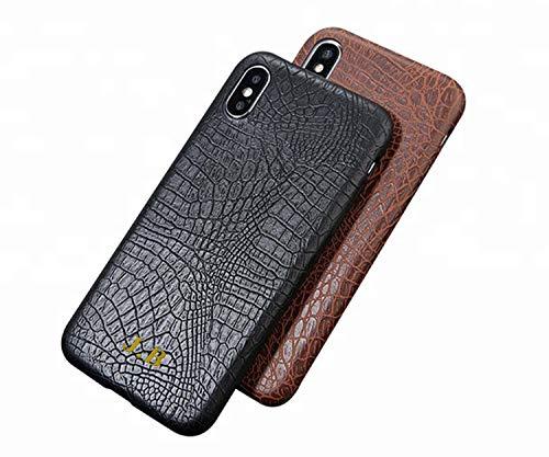 CustomIslandGifts gepersonaliseerde folie initialen Pu lederen krokodil telefoonhoesje voor iPhone 11, bruin