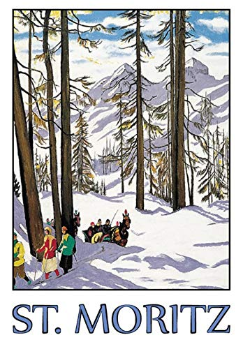 Metalen bord 20x30cm St.Moritz Alpen vakantie sneeuw paarden skibord Tin Sign