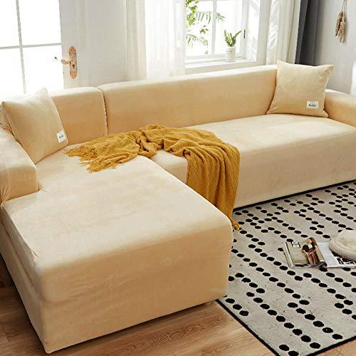 Plüsch Sofabezug Für 3 Kissen Couch,samt Sofa überwurf Elastischer Sesselbezug Möbel Sofa Loveseat Cover Protector Beige 2 Sitzer 140-185cm(55-73inch)