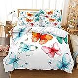 Eiuyhs Butterfly Duvet Cover Set Queen Size Watercolor Blue Pink Orange Green Butterflies Bedding Set 1 Comforter Cover and 2 Pillow Shams(NO Comforter)
