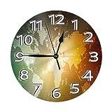 Reloj de Pared Redondo Mapa de Viajes mundiales Reloj de PVC Reloj silencioso sin tictac Reloj de Pared Circular Decorativo