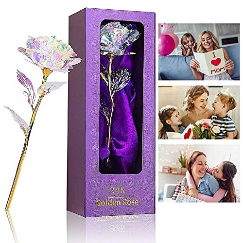 Rosa 24K, Regalo para Madres Rosa Eterna Flore, Rosa de Oro Chapada en Oro con Caja de Regalo para Madre para Amor en el Día de para Amigos como Un Regalo de Cumpleaños, Día de la Madre