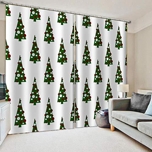 Vorhang Blickdicht Gardinen Weihnachtsbaum 2 Stück 140cm Breite * 180cm Höhe Ösen Verdunkelungsvorhänge für Schlafzimmer Kinderzimmer Thermovorhang