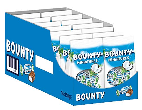 Bounty Schokoriegel | Miniatures, Kokos | 14 Packungen in einer Box (14 x 150 g)