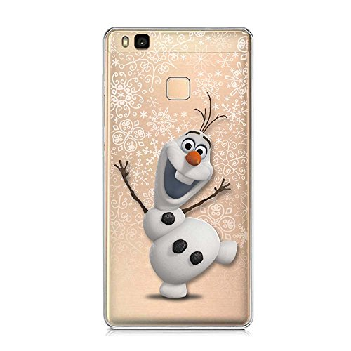 SLIDE P9Lite TPU Funda Gel Transparente Carcasa Case Bumper de Impactos y Anti-Arañazos Espalda Cover, Cartoon, Dibujos Animados, Special Colección Collection, Frozen Olaf, Huawei P9 Lite