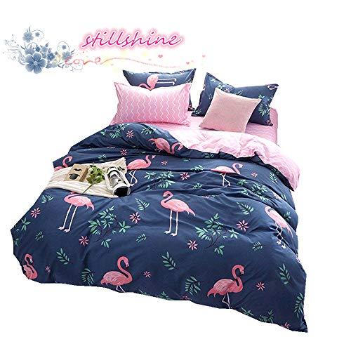 Juego de cama de flamencos, poliéster, algodón, varios colores, tamaño king size, microfibra, azul, Cama 105 cm (180 x 220 cm)