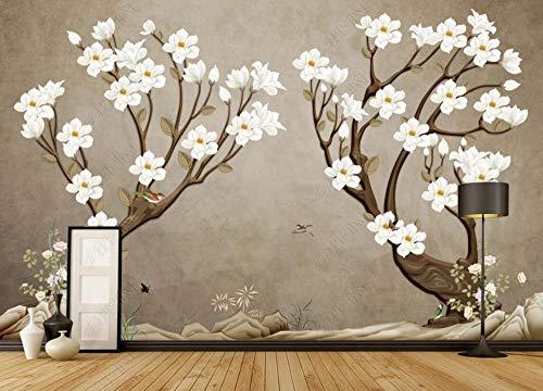 Papel Pintado 3D Meticulosas Flores De Orquídeas Y Pájaros Retro. Fotomurale 3D Tv Telón De Fondo Pared Decorativos Murales Moderna