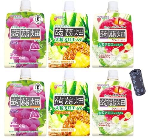 まとめ買い マンナンライフ 蒟蒻畑 3種×2個セット(ぶどう・りんご・パイナップル) 持ち運べる袋付き