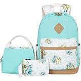 BLUBOON Canvas School Backpack Set 3 Pieces Lightweight Teen Girls Bookbags...