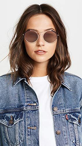 Prada Women's PR 55VS Round Sunglasses, Rose Gold/Brown, One Size