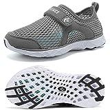 CIOR Boys & Girls Water Shoes Kids Swim Shoes Amphibious Aqua Shoes Sport Sneakers Light Weight Shoes Athletic Shoes for Swimming,Diving,WalkingU118SSXT001C-D.Grey-35