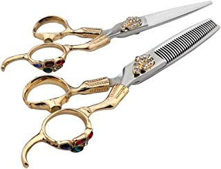 Professional Barber 6 Inch Hairdresser Professional Hairdressing Set, Flat Shear + Tooth Shear Professional Hairdressing Set Scissors (Color : Gold)