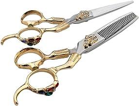 Professional Barber 6 Inch Hairdresser Professional Hairdressing Set, Flat Shear + Tooth Shear Professional Hairdressing Set Scissors (Color : Gold)