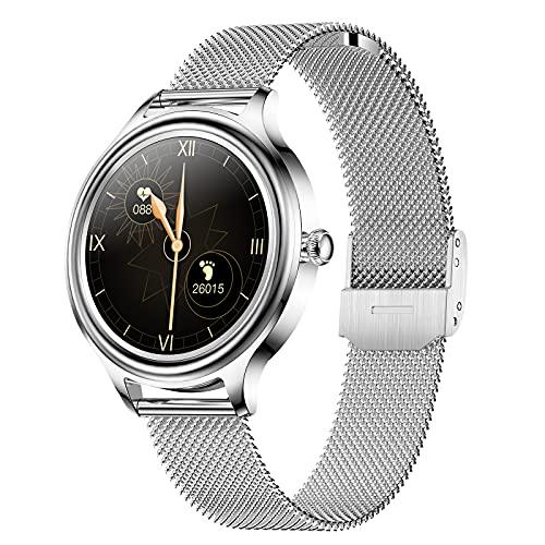 Reloj Inteligente Para Mujeres, Smartwatch Pantalla Táctil Smartwatch Compatible Android Ios Con Monitor De Ciclo Menstrual Femenino /Presión Arterial /Spo2, Pulsera Actividad Inteligente ,Plata