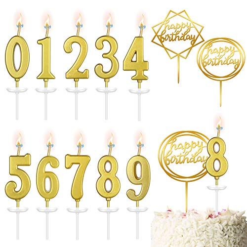 12 Pieces Birthday Cake Numeral Candles Number 0-9 Glitter Cake Topper Decoration Golden Acrylic Happy Birthday Cake Toppers for Birthday Party Supplies Baby Shower Anniversary Wedding Decorations