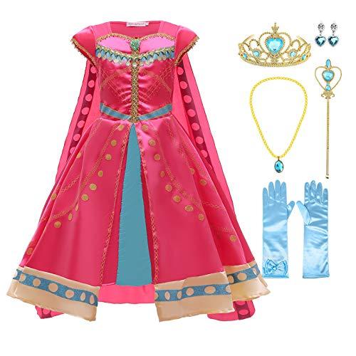 AOGD - Costume da principessa gelsomino per bambini, per cosplay, Halloween, Natale, Rave Party Mascarade di compleanno, colore: rosso
