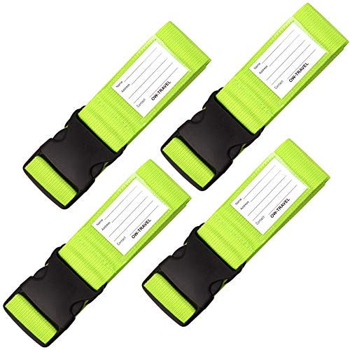 Personalised Luggage Straps for Suitcases (4 Pack Green) OW-Travel Easy to Spot Sturdy Suitcase Straps with Luggage Labels. Luggage Strap Travel Belt for Suitcase Bag Baggage. Bag Strap Case Belts