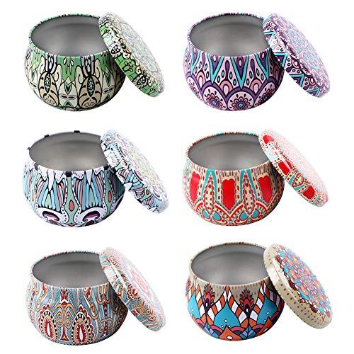 Hileyu 6 Stücke DIY Kerze Dosen Kerzenherstellung Zubehör, Metalldose Blechdosen Klein mit Deckel Dosenkerzen, Metalldose Dosen für Gewürze, Tee, Süßigkeiten, Partyartikel und Geschenke