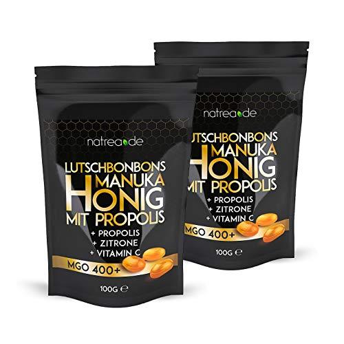 Natrea Manuka Honig Bonbons 400 MGO 🍯 mit Zitronengeschmack und Propolis im Doppelpack | 100 g im wiederverschließbaren ZIP Beutel