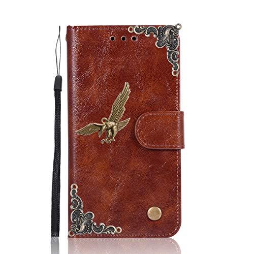 Gift_Source BlackBerry DTEK50 Hülle, Alcatel Idol 4 Hülle, [Braun/Adler] PU Leder Brieftasche Schutzhülle Lederhülle Tasche Hülle mit Standfunktion Handyhülle für BlackBerry DTEK50/Alcatel Idol 4