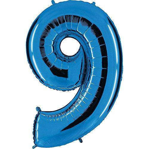 Ballon Zahl in Blau - XXL Riesenzahl 100cm - für Geburtstag Jubiläum & Co - Neun - Party Geschenk Dekoration Folienballon Luftballon Happy Birthday (Zahl 9)
