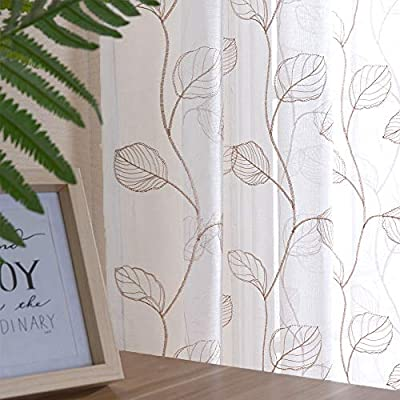 Taupe Leaf Tile Sheer Curtains for Bedroom Leaf Embroidery Voile Sheer Curtain Rod Pocket for Living Room Window Treatment Set 63 inch 1 Pair