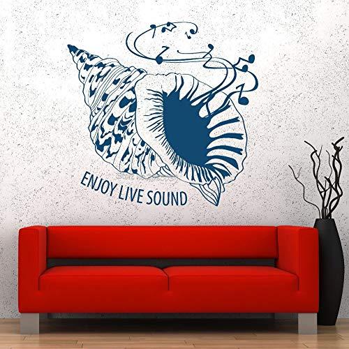 JXFM Shell Sea Wall Vinyl afneembare muziek genieten geluid garantie muurstickers bieden kwaliteit stickers Boy Room Art Sticker Nieuwe LA502 62x56cm
