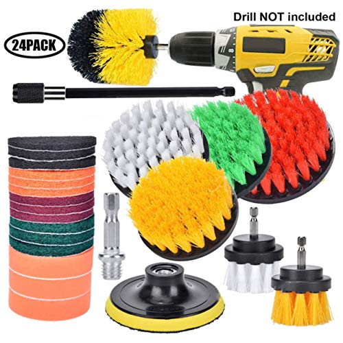 24 pcs/set Electric drill brush head set Plastic Cleaning and polishing Glass Brick Wall Cleaning brush head
