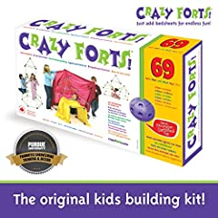 Crazy forts are a unique building and creative toy. Create a cave one day, an Igloo, pirate ship, or castle the next put the pieces together in different configurations, cover with bed sheets and voila Durable Portable Easy to build