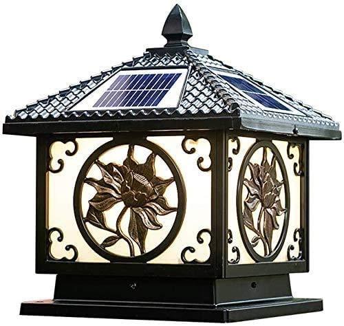 MJYT Columna lámpara Solar, Villa Jardín, lámpara Impermeable al Aire Libre, lámpara de Pared, lámpara al Aire Columna del Atardecer al Amanecer